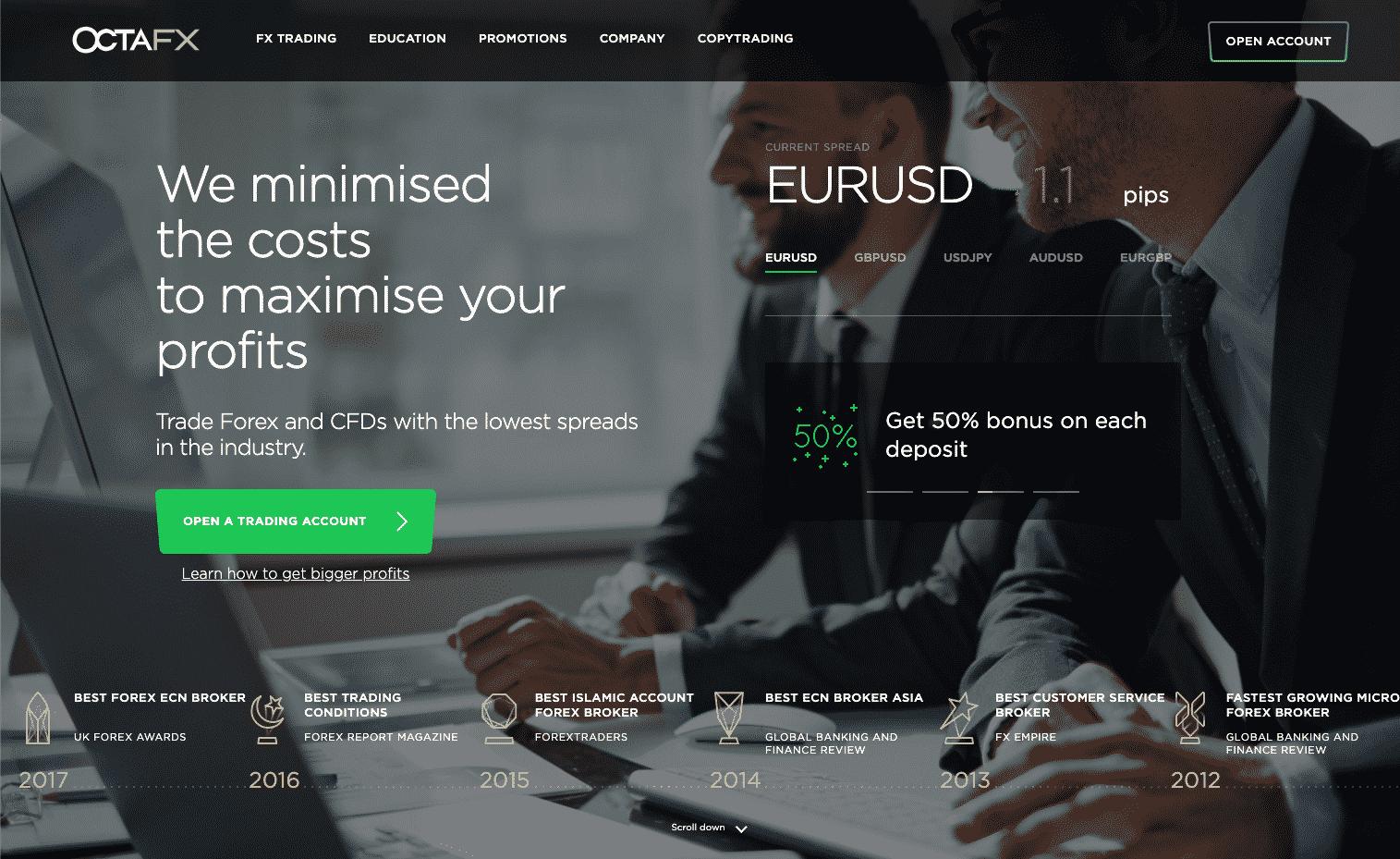 OctaFX Website Screenshot
