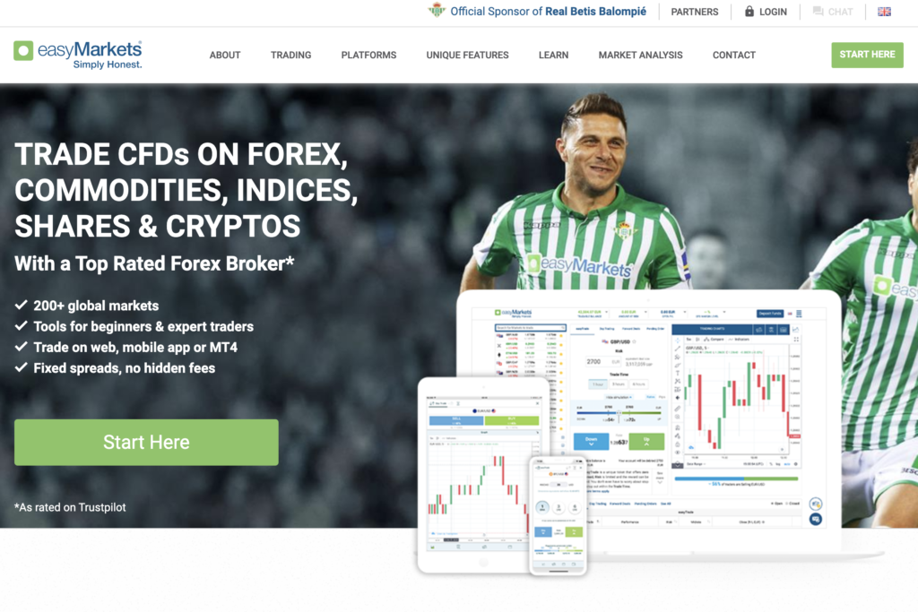 easyMarkets Website Screenshot