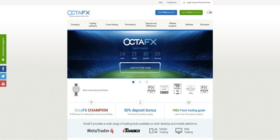 OctaFX Website