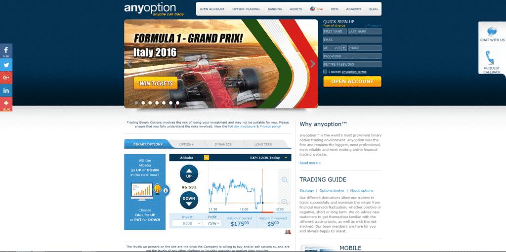 AnyOption Website