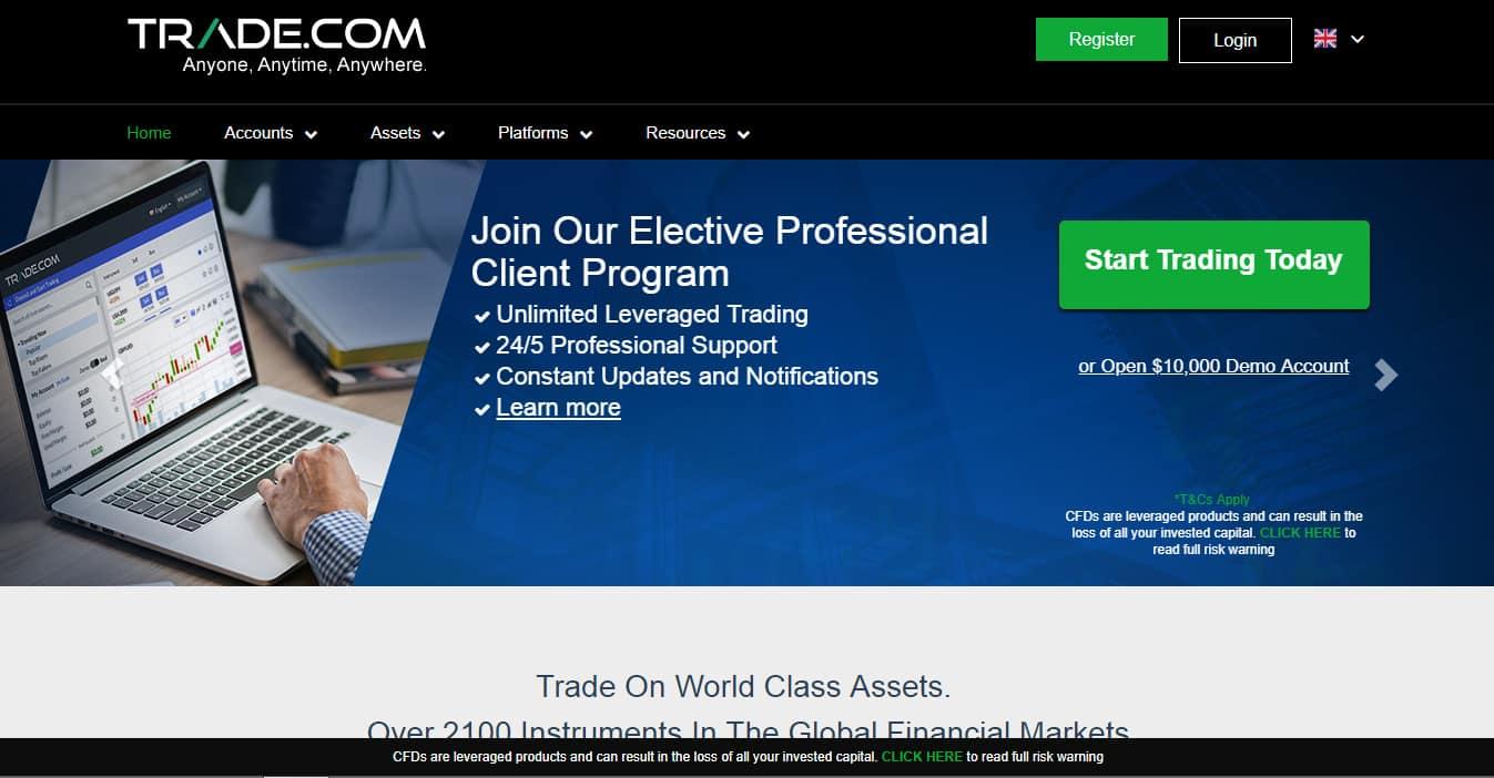 Trade.com Website Screenshot