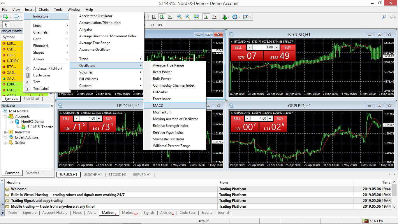 NordFX Platform Screenshot