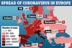 spread of coronavirus in Europe