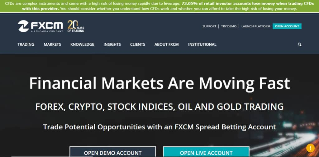 FXCM Website Screenshot