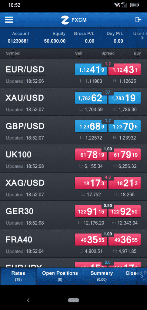 FXCM Mobile App Screenshot