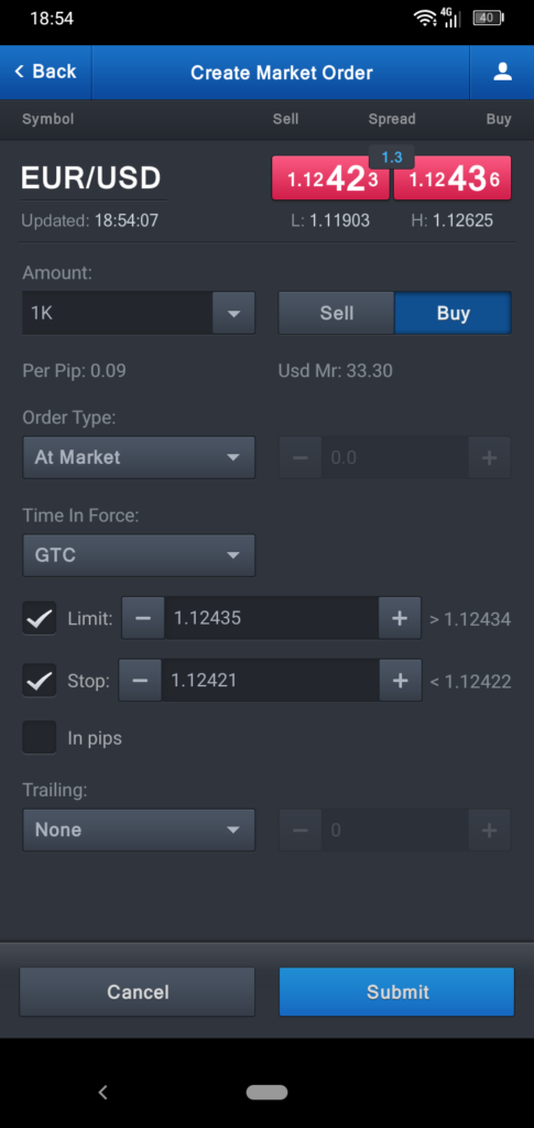 FXCM Create Market Order Screenshot