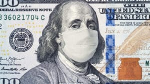 US dollar with mask