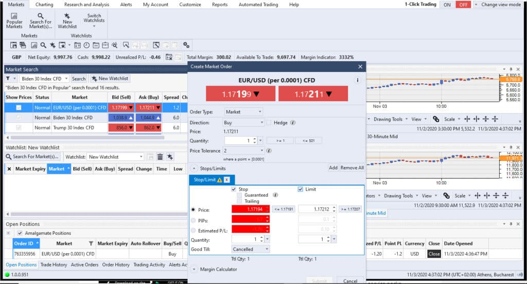 City Index Options Trading Screenshot