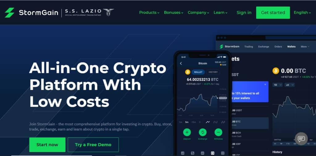 StormGain Main Website