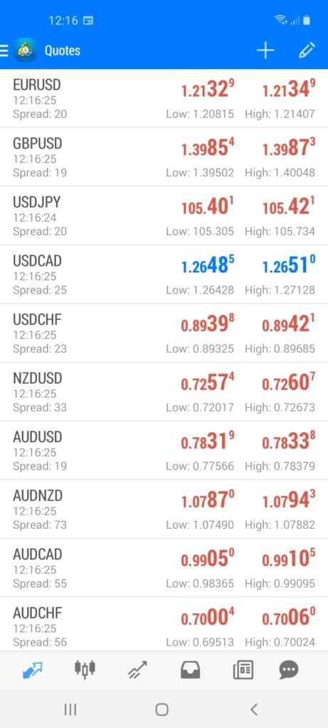 BlackBull Markets Mobile Platform Screenshot