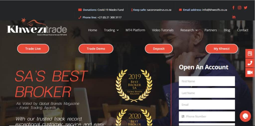 Khwezi Trade Website Screenshot