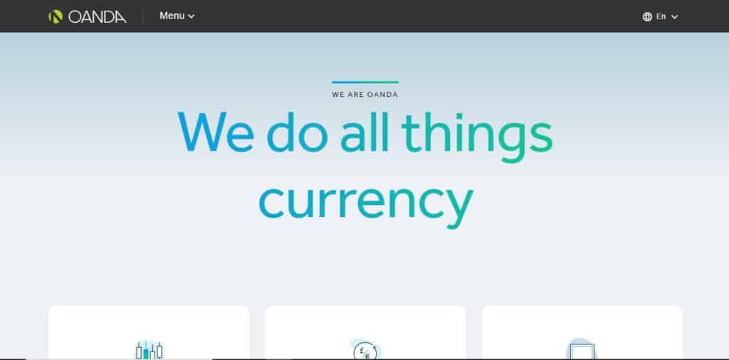 Oanda Website Screenshot